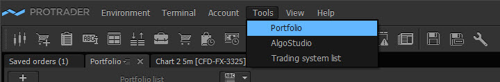 "use instrument ""Portfolio"" which is included to the functionality of the Protrader terminal."