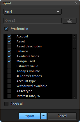 Choose the needed parameters of the trading account in the export menu and activate the synchronization.