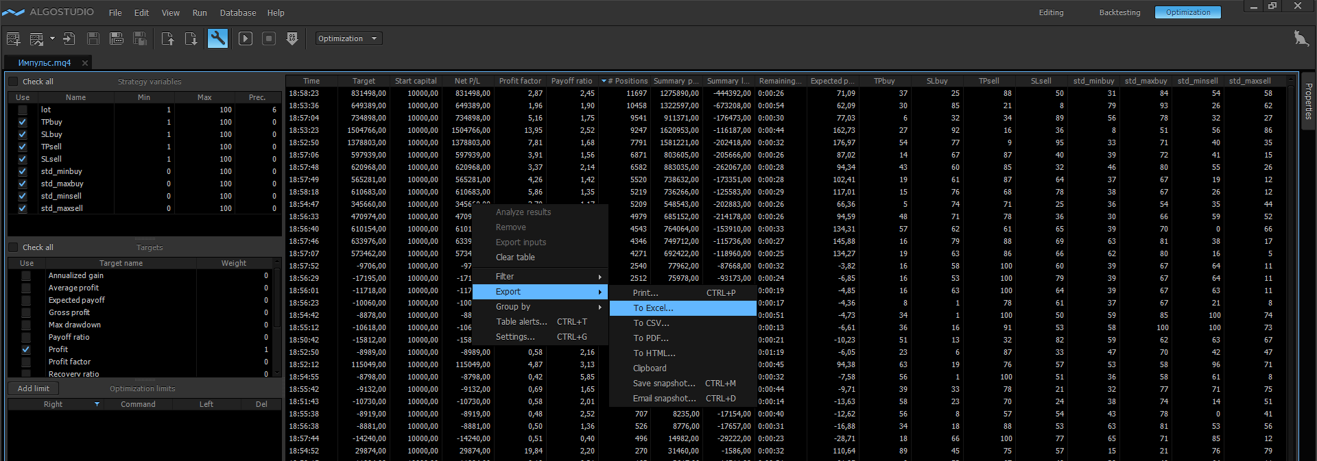 Implementation in Protrader looks as follows after holding the optimization in AlgoStudio.