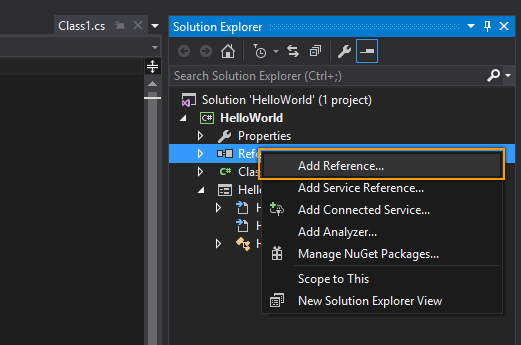 Add references in Solution Explorer
