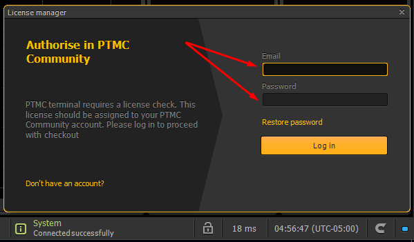 How to authorize in PTMC platform