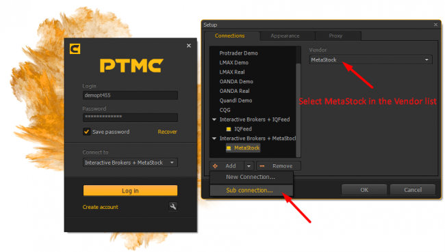 Select MetaStock in PTMC as sub connection