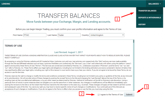 Accept terms of use on Poloniex exchange