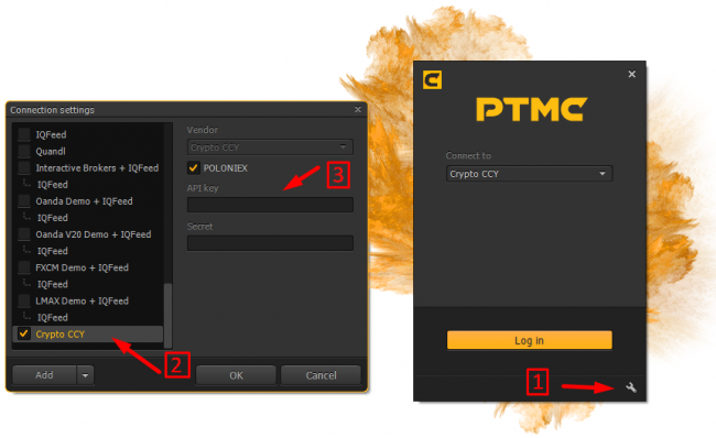 connection settings of Poloniex and PTMC